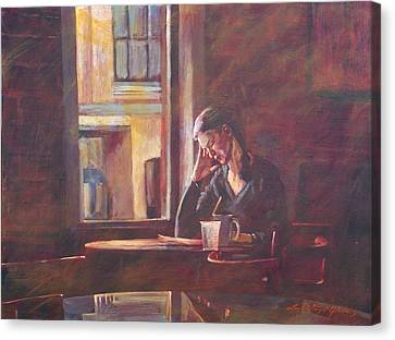 Bistro Student Canvas Print by David Lloyd Glover
