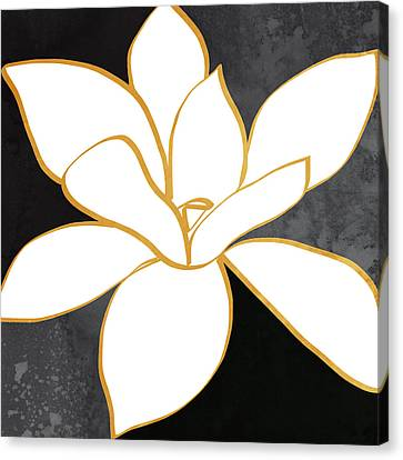 Black And Gold Magnolia- Floral Art Canvas Print by Linda Woods