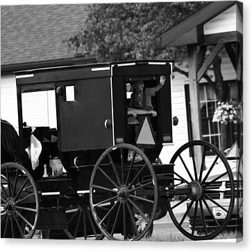 Black And White Amish Buggy Canvas Print by Dan Sproul