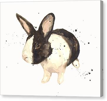 Black And White Bunny Canvas Print by Alison Fennell