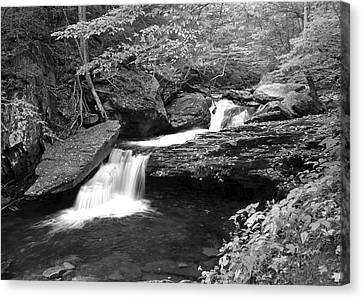 Black And White Cascade Canvas Print by Frozen in Time Fine Art Photography