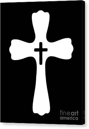 Black And White Cross Canvas Print by Adri Turner