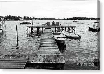 Black And White Dock Canvas Print by John Rizzuto