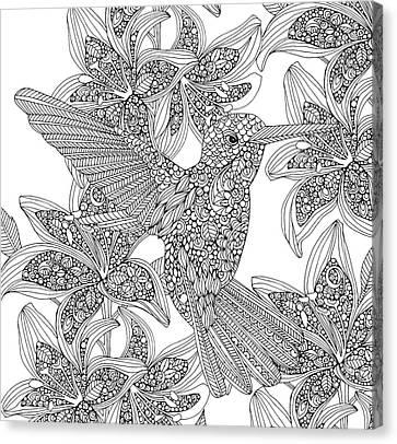 Black And White Hummingbird Canvas Print by Valentina Harper