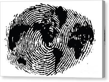 black and white ink print poster One of a Kind Global Fingerprint Canvas Print by Sassan Filsoof