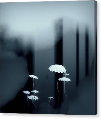 Black And White Mushrooms Canvas Print by GuoJun Pan