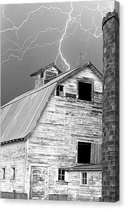 Black And White Old Barn Lightning Strikes Canvas Print by James BO  Insogna