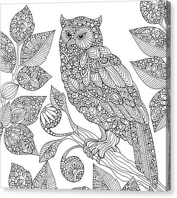Black And White Owl Canvas Print by Valentina Harper