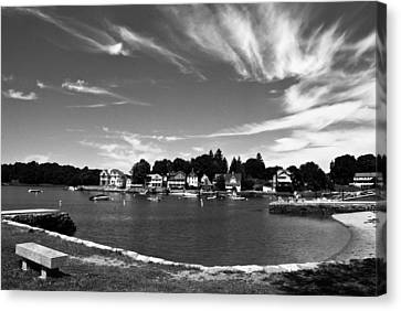 Black And White Photo Park Bench Stony Creek Harbor Connecticut Canvas Print by Robert Ford