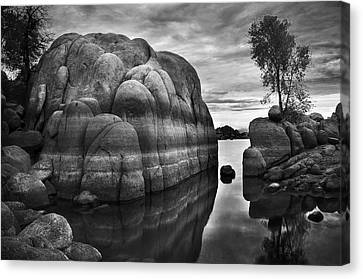Black And White Rocks At Watson Lake Near Prescott Arizona Canvas Print by Dave Dilli