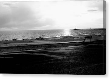 Winter On Lake Michigan With Beach And Lighthouse Pier At Sunset Black And White  Canvas Print by Rosemarie E Seppala