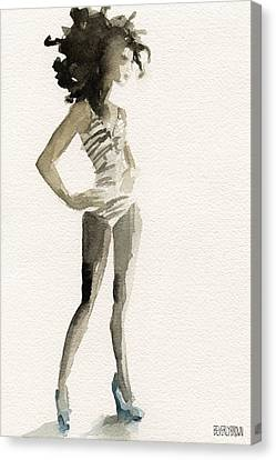 Black And White Stripes 3 Watercolor Fashion Woman Art Print Canvas Print by Beverly Brown Prints