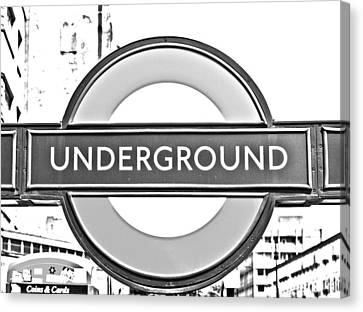 Black And White Underground Canvas Print by Georgia Fowler