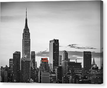 Black And White Version Of The New York City Skyline With Empire Canvas Print by Eduard Moldoveanu