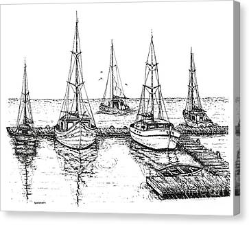 Black And White With Pen And Ink Drawing Of The Berth Canvas Print by Mario Perez