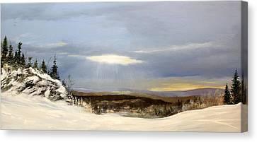 Black Bear Ski Trail Canvas Print by Ken Ahlering
