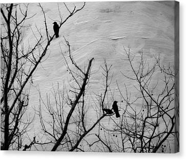 Black Birds Canvas Print by Kathy Jennings