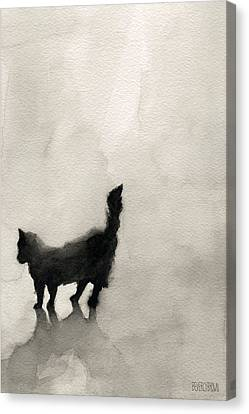 Black Cat Watercolor Painting Canvas Print by Beverly Brown Prints