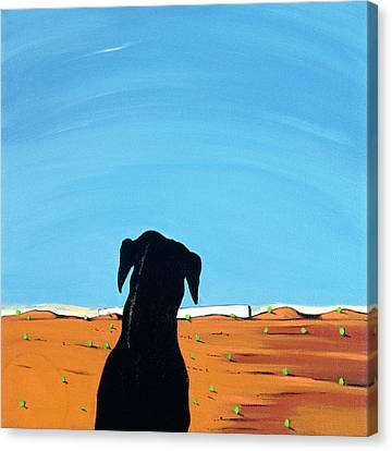 Black Dog In Chestertown, 1998 Canvas Print by Marjorie Weiss