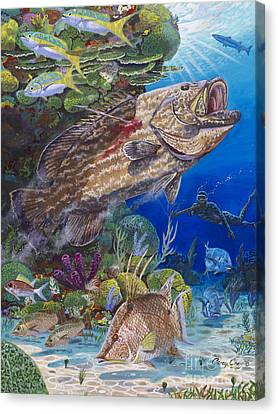 Black Grouper Hole Canvas Print by Carey Chen