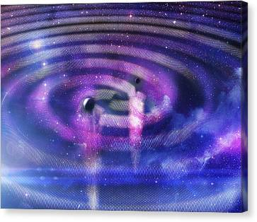 Black Hole Merger And Gravitational Waves Canvas Print by Ramon Andrade 3dciencia