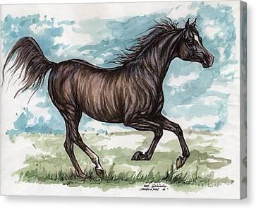 Running Horses Canvas Print featuring the drawing Black Horse Running by Angel  Tarantella