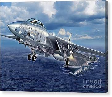 Black Lion Launch - F-14d Canvas Print by Stu Shepherd