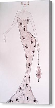 Black Orchid Gown Canvas Print by Christine Corretti