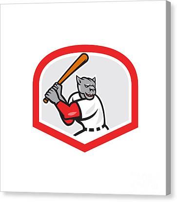 Black Panther Baseball Player Batting Cartoon Canvas Print by Aloysius Patrimonio