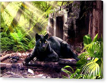 Black Panther Custodian Of Ancient Temple Ruins  Canvas Print by Regina Femrite