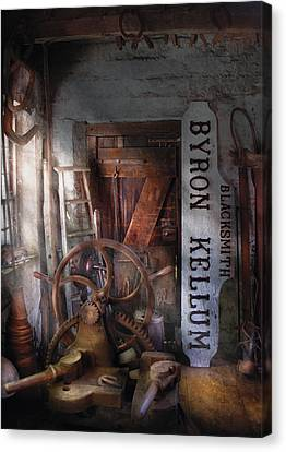 Black Smith - Byron Kellum Blacksmith Canvas Print by Mike Savad