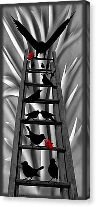 Blackbird Ladder Canvas Print by Barbara St Jean