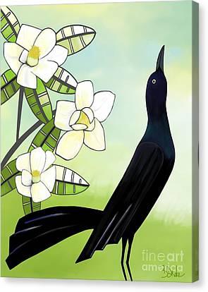 Blackbird Under The Magnolia Canvas Print by Barbara Drake