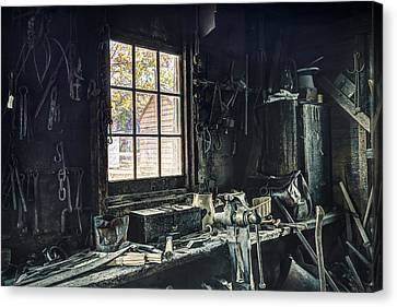 Blacksmiths Workbench - One October Afternoon Canvas Print by Gary Heller