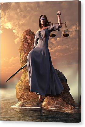 Blind Justice With Scales And Sword Canvas Print by Daniel Eskridge