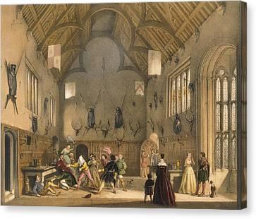 Blind Mans Buff, Played In Athelhampton Canvas Print by Joseph Nash