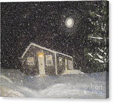 Blizzard At The Cabin Canvas Print by Barbara Griffin