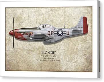 Blondie P-51d Mustang - Map Background Canvas Print by Craig Tinder