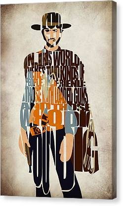 Blondie Poster From The Good The Bad And The Ugly Canvas Print by Ayse Deniz