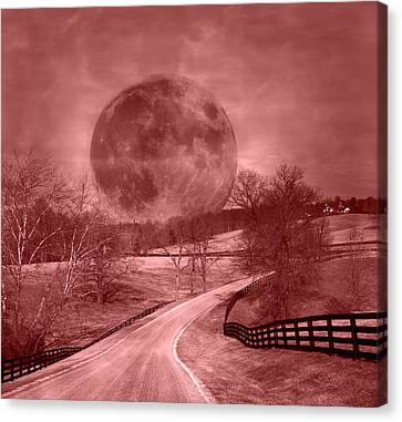 Blood Moon One Of Two Canvas Print by Betsy Knapp