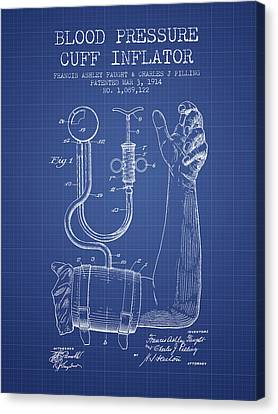 Blood Pressure Cuff Patent From 1914 - Blueprint Canvas Print by Aged Pixel