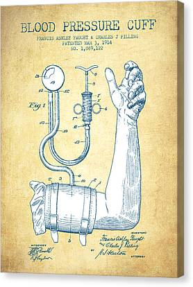 Blood Pressure Cuff Patent From 1914 - Vintage Paper Canvas Print by Aged Pixel