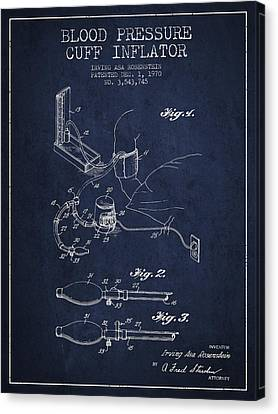 Blood Pressure Cuff Patent From 1970 - Navy Blue Canvas Print by Aged Pixel