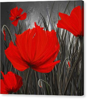 Blood-red Poppies - Red And Gray Art Canvas Print by Lourry Legarde