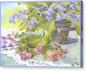 Blu Cape Primroses Canvas Print by Julia Rowntree