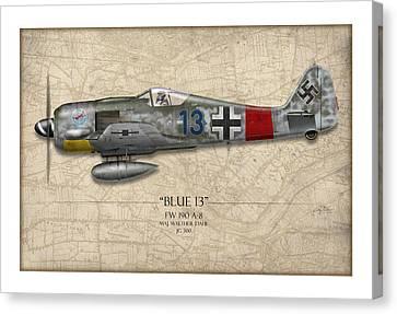 Blue 13 Focke-wulf Fw 190 - Map Background Canvas Print by Craig Tinder