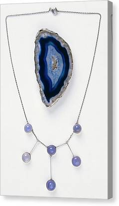 Blue Agate Brooch And Necklace Canvas Print by Dorling Kindersley/uig
