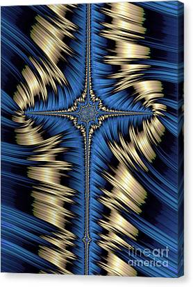 Blue And Gold Cross Abstract Canvas Print by John Edwards
