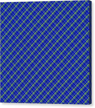 Blue And Green Diagonal Plaid Pattern Cloth Background Canvas Print by Keith Webber Jr
