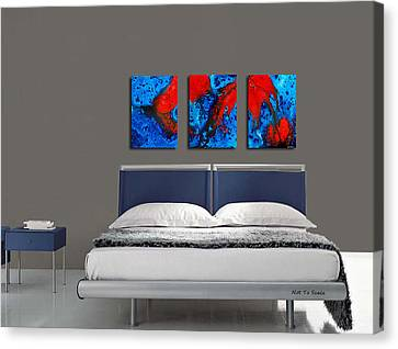 Blue And Red Abstract Hung As A Triptych Canvas Print by Sharon Cummings
